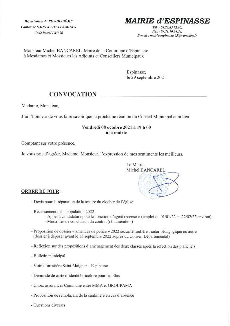 Convocation reunion cm du 08 octobre 2021